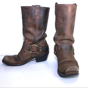 Frye Shoes - Frye Vintage Mid Calf Leather Engineer Strap Boot